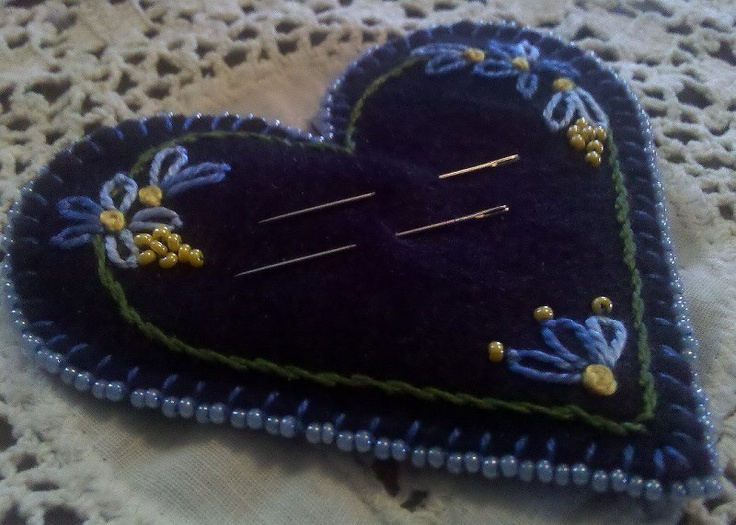 Needle Pad - felt, beads,and hand embroidery