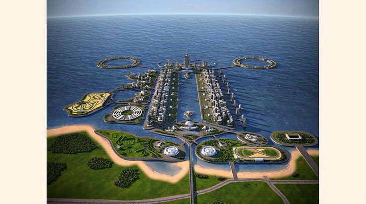 10. Khazar Islands, Azerbaiyán. Este es un mega proyecto de emprendimiento que está siendo desarrollado en 41 islas artificiales a 25 kilómetros de la capital de Azerbaiyán, Bakú, en el Mar Caspio (la isla más alejada se encuentra a 7 kilómetros de la costa).-JH
