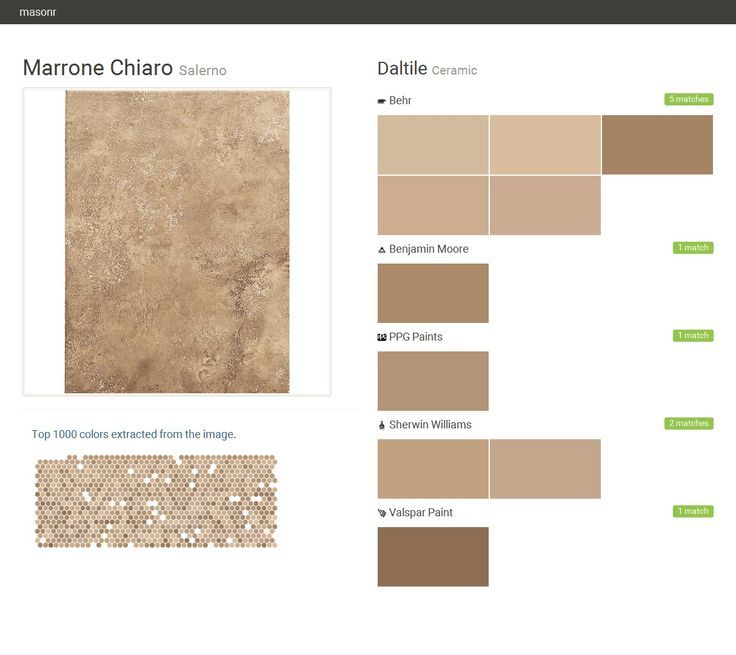 Marrone Chiaro. Salerno. Ceramic. Daltile. Behr. Benjamin Moore. PPG Paints. Sherwin Williams. Valspar Paint.  Click the gray Visit button to see the matching paint names.