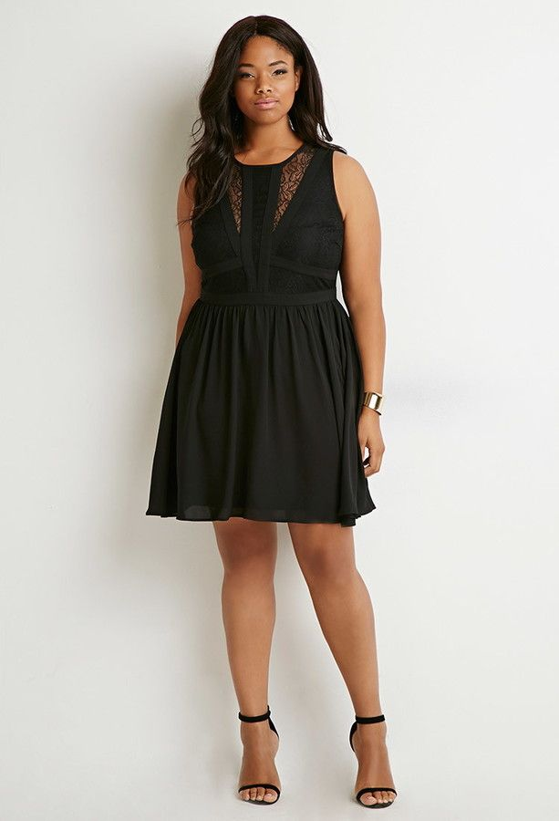 Plus Size Lace-Paneled Fit & Flare Dress