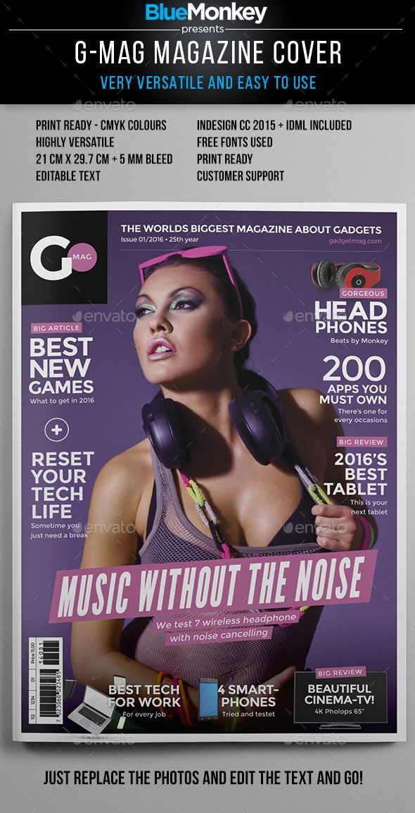 G-Mag Magazine Cover Template — InDesign INDD #professional #model • Available here → https://graphicriver.net/item/gmag-magazine-cover-template/14220048?ref=pxcr