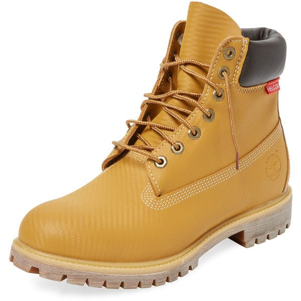 Timberland Timberland Men's Premium Boot - Cream/Tan - Size 10.5 ($109) ❤ liked on Polyvore featuring men's fashion, men's shoes, men's boots, mens lace up boots, mens platform shoes, mens tan boots, mens leather lace up boots and mens boots