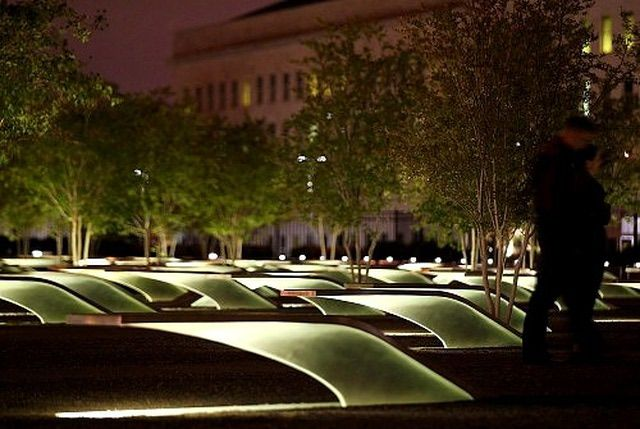 The Pentagon Memorial During the Quiet of Night. A memorial to both the passengers of Flight 77 and the Pentagon victims of 9/11/01.