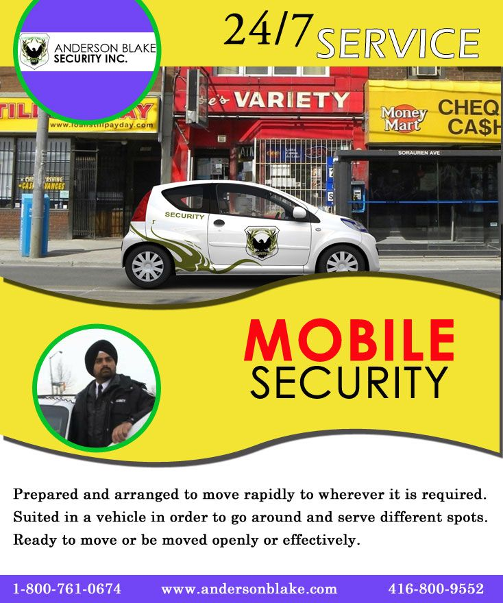 We provide you complete mobile security services in Brampton, Toronto, Mississauga (ONTARIO). Just call at: 1-800-761-0674, 416-800-9552.