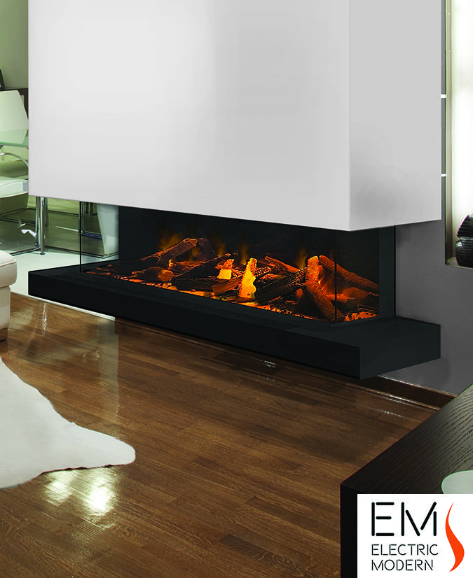 E60 3 Sided Electric Fireplace Contemporary Fireplace Modern