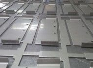 CNC punched stainless steel sheet metal brackets with bends included on a Trumpf 3000 http://www.vandf.co.uk/bending-sheet-metal-on-a-cnc-punch-press/