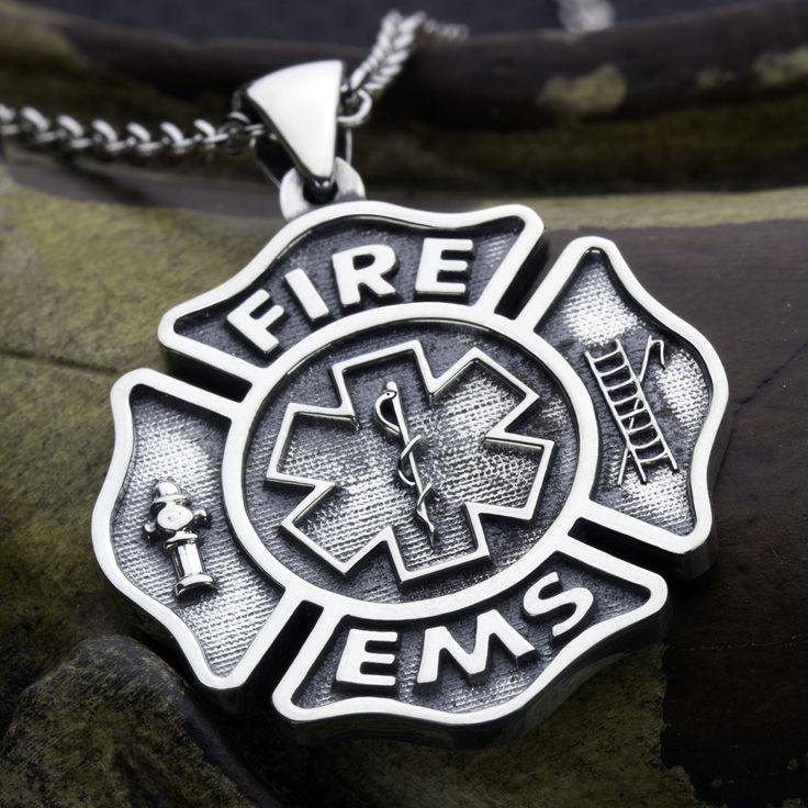 Large Size Firefighter Maltese Cross Fire EMS Star of Life Sterling Silver Necklace Pendant David Daffer Designs  #daviddafferdesigns