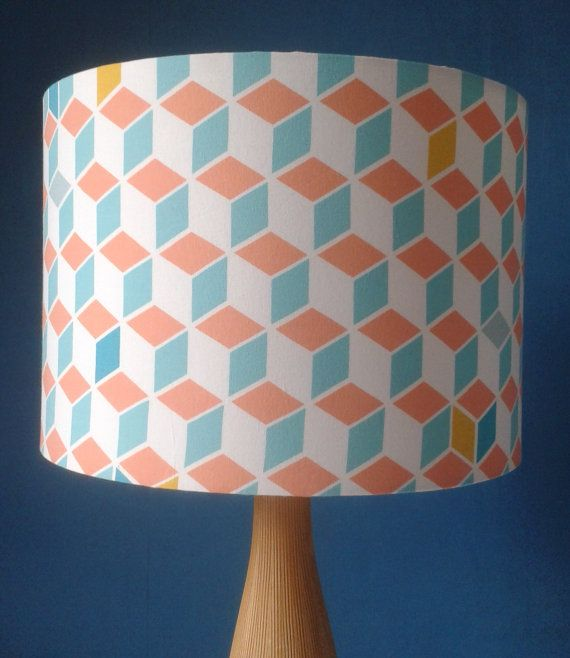 Scandinavian Squares Fabric Covered Lampshade on Etsy, £15.00