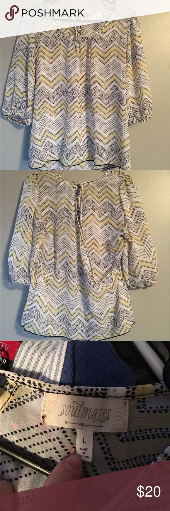 Yellow and gray chevron blouse Soulmates brand Yellow and gray chevron blouse. Sheer material with over laying back. Size large. 3/4 sleeves. Soulmates Tops Blouses