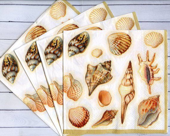 43 4 x Single  Paper Napkins Sea Shells  for DECOUPAGE and CRAFTING