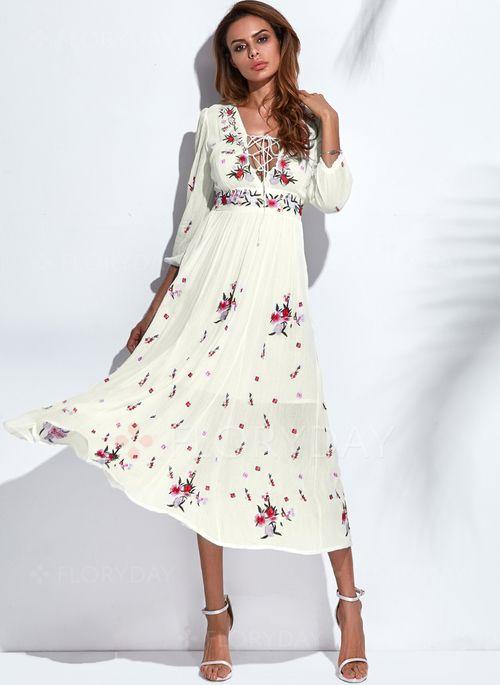Sukienki - $66.99 - Bawełna Kwiatowy Długi Rękaw Maxi Elegancki Sukienki (1955131470)