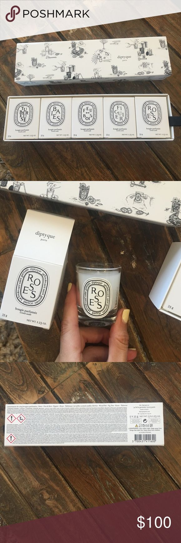 New Diptyque Paris Nordstrom Candles 5 x 1.23oz New Diptyque Paris Nordstrom Candles 5 x 1.23oz - in box - berries, wood fire, fig tree, roses & tuberose - amazing smells! Diptyque Other