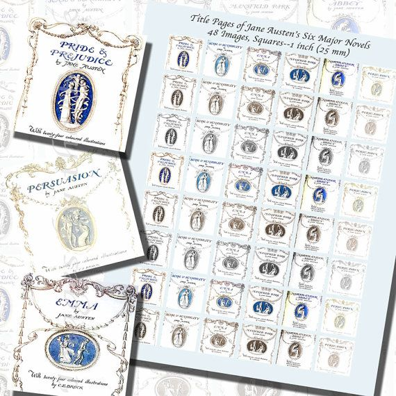 Jane Austen's Title Pages Printables ONE INCH by imagesbythebook