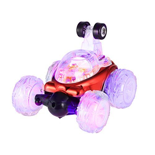 LESHP RC Rolling Stunt car,Invincible Tornado Twister Remote Control Truck,360 Degree Spinning and Flips with Color Flash & Music for Kids  🏃🏃Funny Toy Design for Children: With a streamlined body, translucent huge tires, spinning action and bright colorful LED lights, children will immediately fall in love with this breathtaking advanced Stunt Car.  🏃🏃Sensorial Stimulation by All-dimension: It provide a freely remote control. Children can't wait to get ...