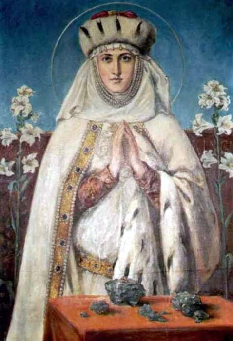 St. Kunegunda (1224-1292) Daughter of King Bela IV and niece of St. Elizabeth of Hungary, she married King Boleslaus V of Poland at sixteen. On his death in 1279 she became a Poore Clare at the Convent of Sandeck, which she had founded. She also built churches and hospitals, ransomed Christians captured by the Turks, and served the poor and ill. She is also known as St. Kinga. Her cult was confirmed in 1690. Feast day July 24