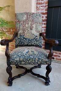 Antique-French-Carved-Walnut-Fireside-Dining-Arm-Chair-Tapestry-Unicorn-amp-Lady