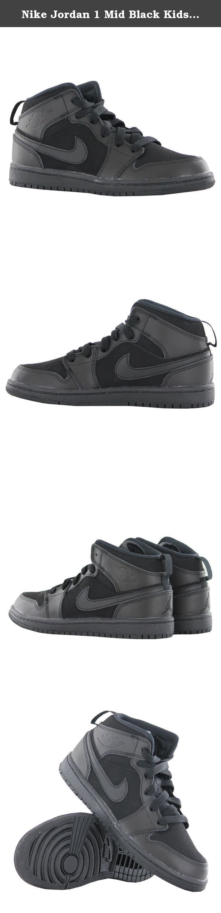 Nike Jordan 1 Mid Black Kids Trainers Kids 13 UK. Nike's Jordan 1 Mid are perfect to be used as working-out & running trainers or for any casual occasion. Their leather + synthetic upper ensures the durability of the shoes, textile lining gives softness while wearing, and synthetic sole provides extra tr.
