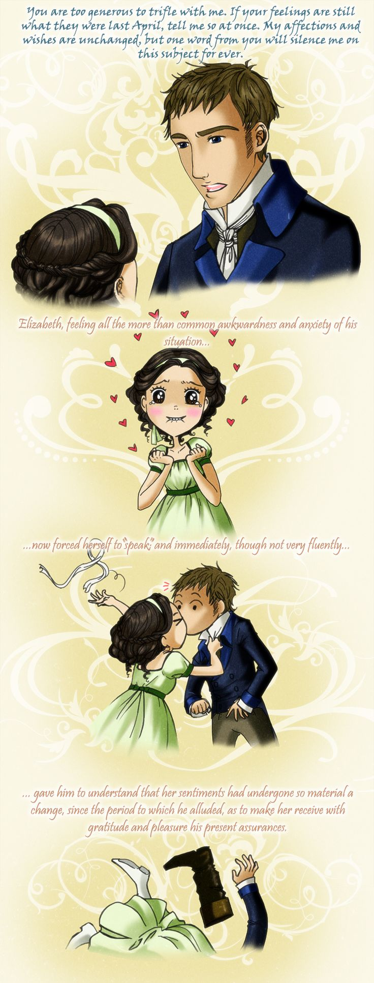 """Pride and Prejudice by *palnk on deviantART. Sure... she forced herself to """"speak"""" to Fitzwilliam Darcy, every woman's dream man."""