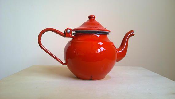 Vintage Red Emaille Teekanne rot Emailwaren kleine rote