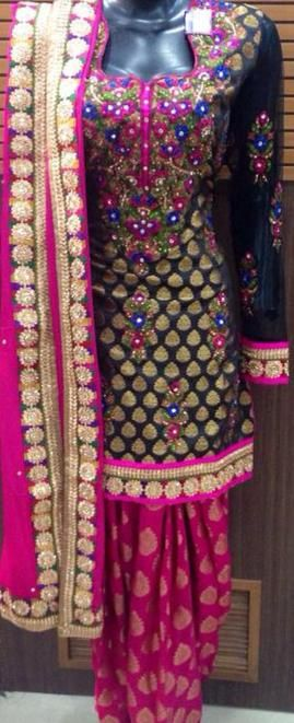 Lovely Black Banarasi Kameez and Pink Patiala - perfect for sangeet