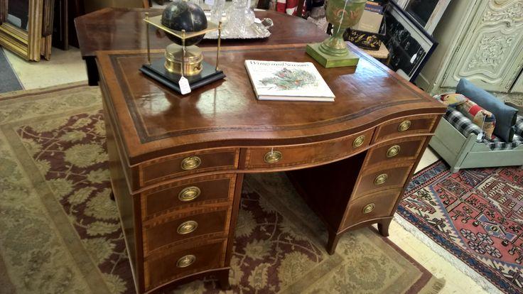 Inlaid Carved Mahogany Leather Top Nottingham Sligh Antique Desk Antique Mid Century