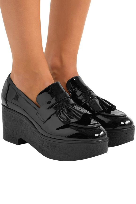 2c29f4a4211 ROBERT CLERGERIE Verni ruffled patent-leather platform loafers ...