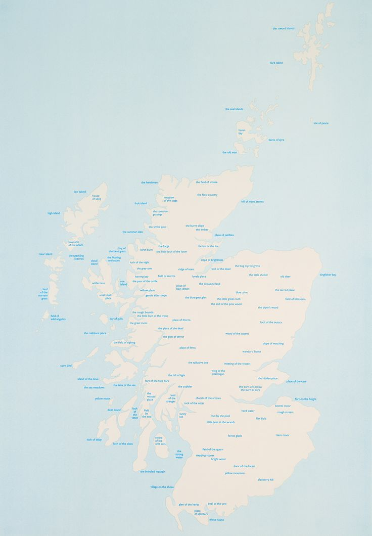 THOMAS A. CLARK The Hidden Place  The Hidden Place is a poem which takes the form of a map of Scotland on which all the place names have been replaced by phrases giving the original meaning of the names.