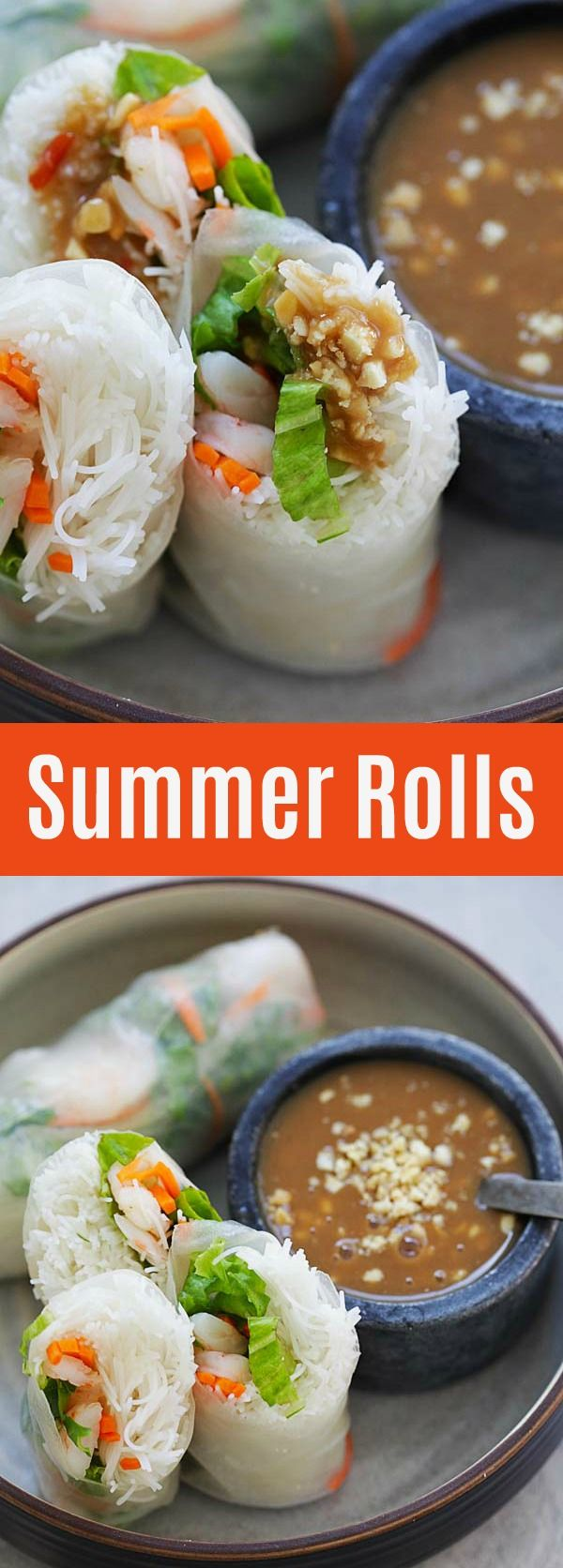 Easy Summer Rolls – healthy and delicious Vietnamese Summer Rolls made with Annie Chun's Maifun rice noodles, lettuce, carrots, shrimp with hoisin-peanut sauce. So good | rasamalaysia.com