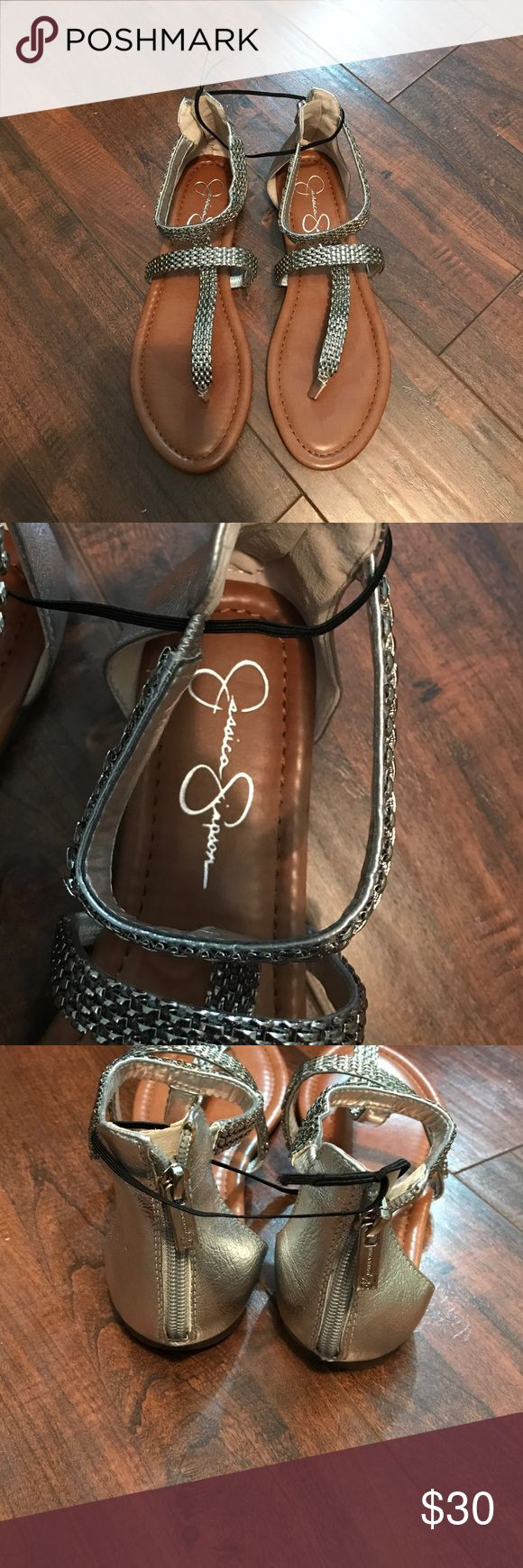 Jessica Simpson Sandals New, never worn sandals. Stickers still on bottom, no box. Silver Jessica Simpson Shoes Sandals