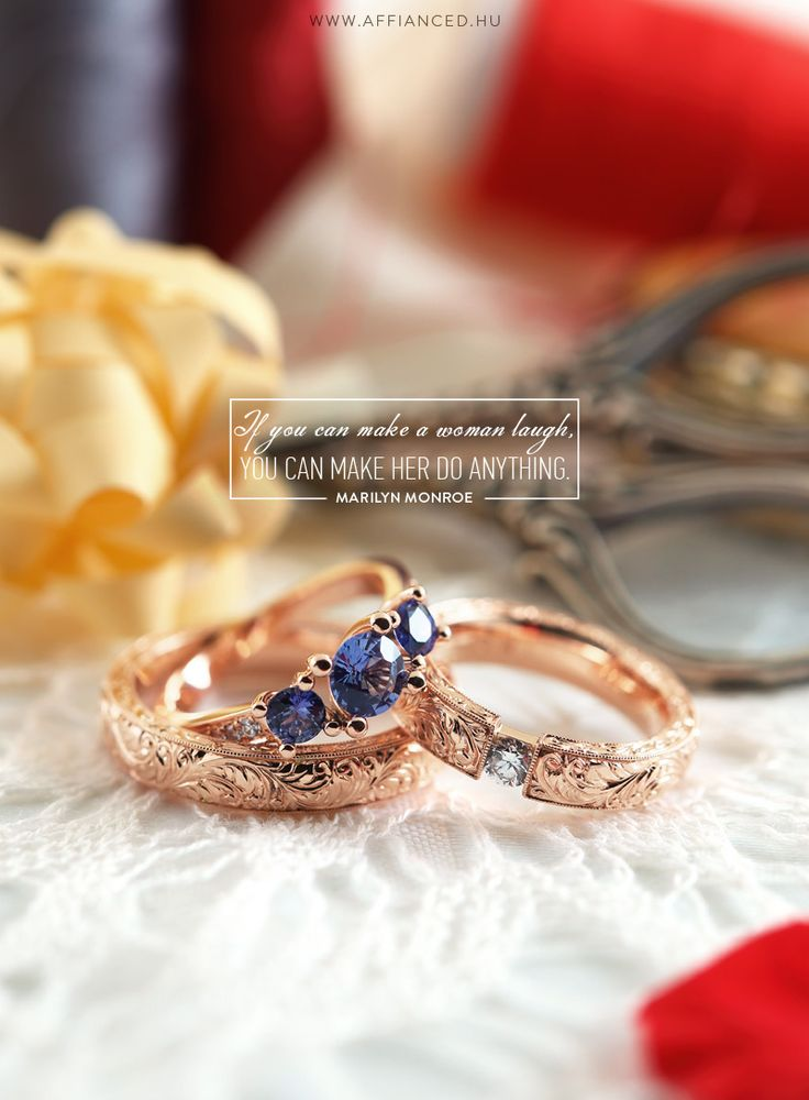 Handcrafted wedding and engagement ring with handmade engraving, brilliants and sapphires.