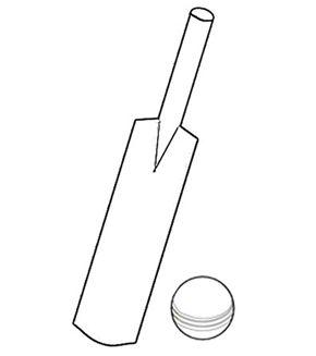 Cricket Bat & Ball Colouring Page