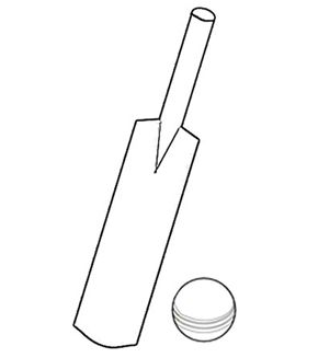 Free Online Cricket Bat & Ball Colouring Page - Kids Activity Sheets for sports lovers