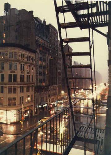 W 72nd Street in Rain, 1981. I love that this picture of my building was taken before I was born.