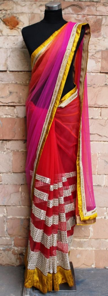 Crimson ombre net saree To get more details, please write to us on info@pritisahni.com