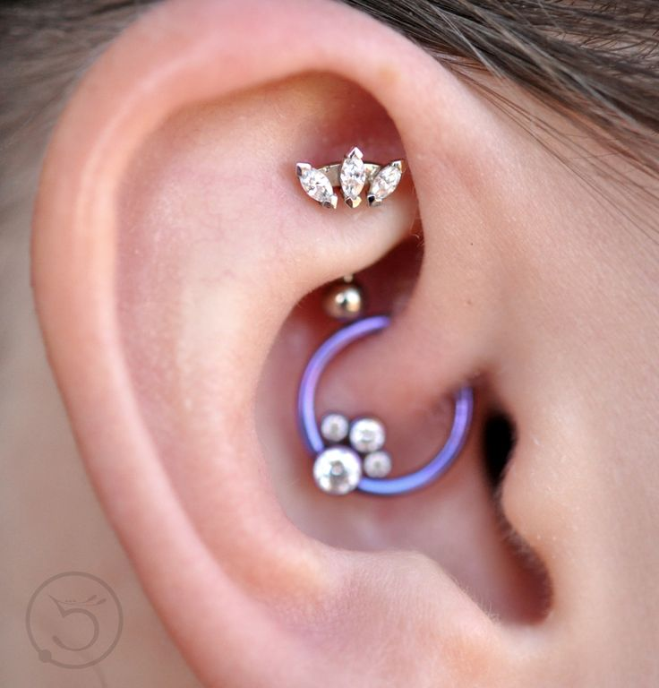 Rook with White Gold Marquise Fan from BVLA Daith with Anatometal Gem Cluster  Piercings by Leo Ziebol and Janessa Mckissack of 5point Studios in Clive Iowa