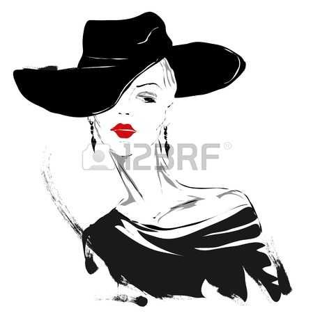 acconciature: Ragazza moderna, schizzo, labbra rosse, sfondo bianco, taglio di capelli alla moda, cappello