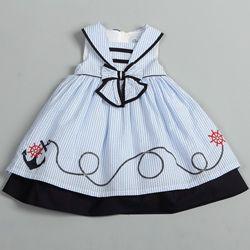 toddler nautical dress | Donita Toddler Girls Light Blue Sailor Collar Nautical Dress ...