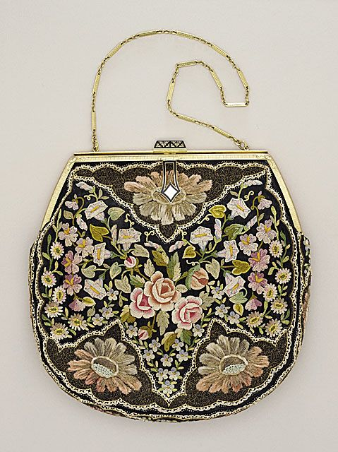 1930s Accessory Handbag: dainty beaded bag that is mounted on frame, but still pouch shaped with small strap