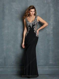 Chiffon V-neck Sweep Train Sheath/Column Sequins Prom Dresses -NZD$254.99
