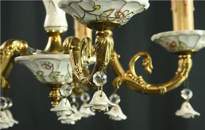 Ornate Vintage Capodimonte Chandelier Ceramic Rose