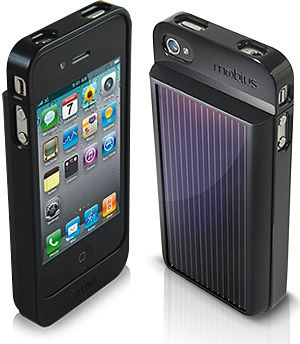 The Eton Mobius is a battery pack/case/solar charger is custom cut to fit your iPhone 4, and features a battery large enough to double your iPhone's runtime, a rear-mounted monocrystal solar panel, open access to all ports and controls, and a jeans-friendly form factor