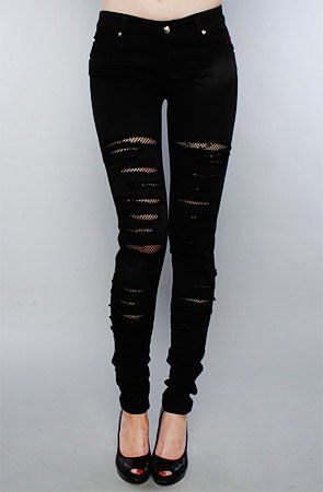 Amazon.com: Tripp NYC The Fishnet Underlay Jean in Black,Denim for Women: Clothing
