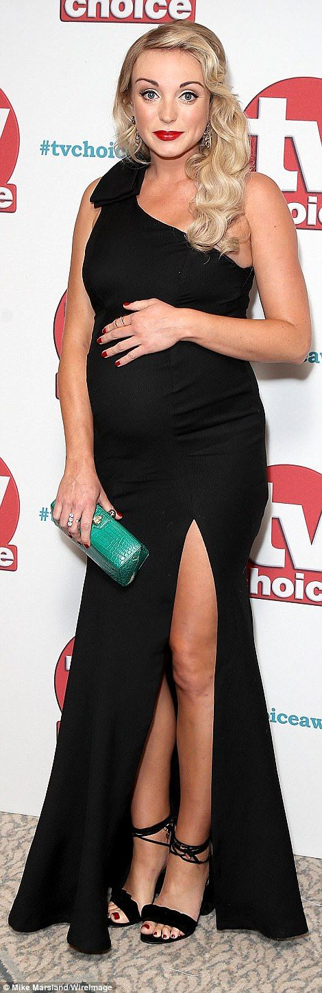 Glowing: PregnantHelen George was glowing at the event in her dazzling full-length look while Judge Rinder was dapper as ever in his black tux