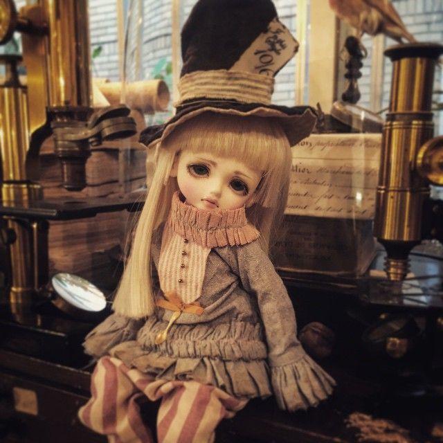 """@jolted_0118 さんの""""Mad Hatter""""の服が @mute_scon から届きましたー。 (店員個人用) imdaがまだいないのでLUTSに着せました。 これは可愛い! これはimdaも手に入れなければならぬな。 #doll #ringo #ドール #luts #madhatter #マッドハッター #帽子屋 #piika店内 #piika #下北沢 #うちの子は下着なし靴なしがデフォ"""