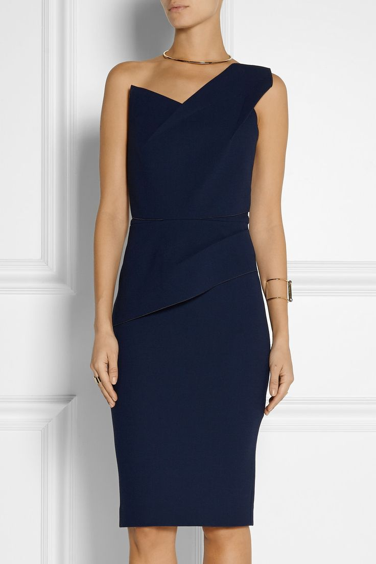 Roland Mouret | Pernice one-shoulder wool-crepe dress in midnight blue