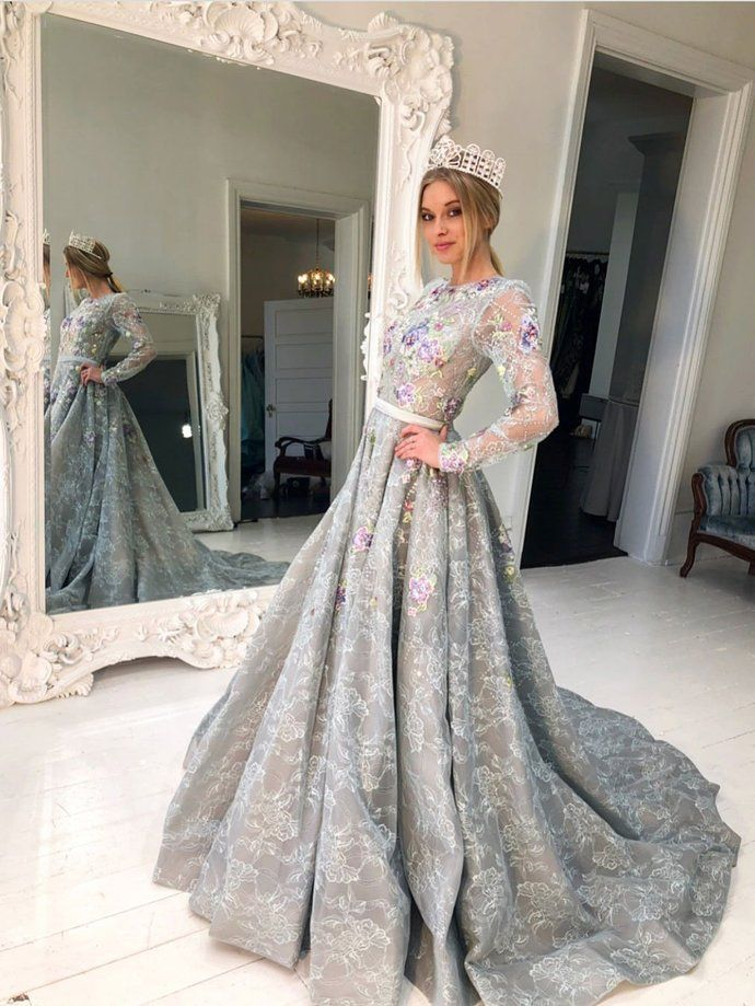 69e2faeca8628 Long Sleeve Grey Lace Graduation Dresses for Junior Beaded Long Evening  Prom Dress by lass, $218.02 USD