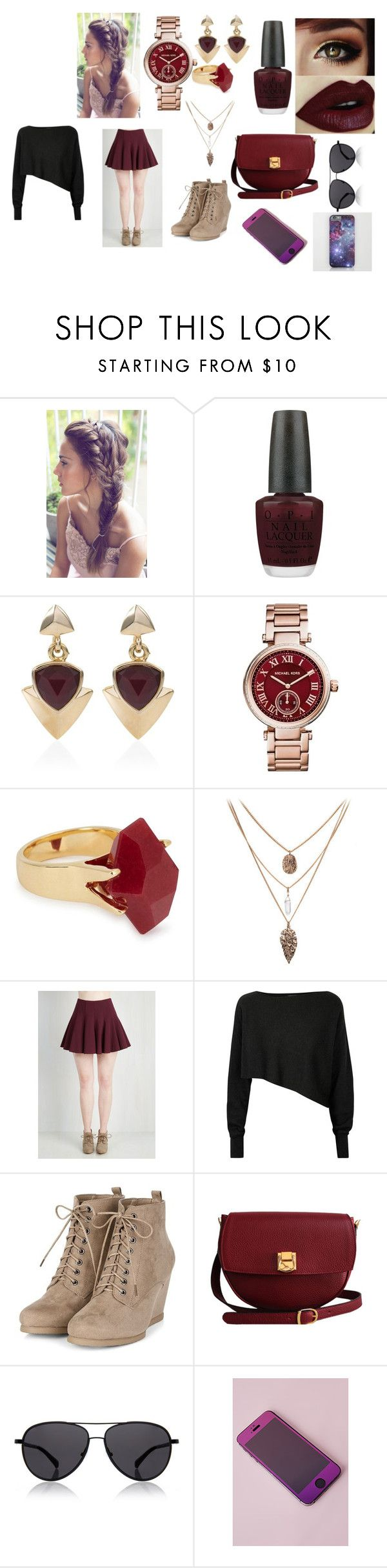 """burgundy all da way"" by courtneyn-i on Polyvore featuring OPI, White House Black Market, Michael Kors, Lola Rose, Crea Concept, The Code, The Row and Missguided"