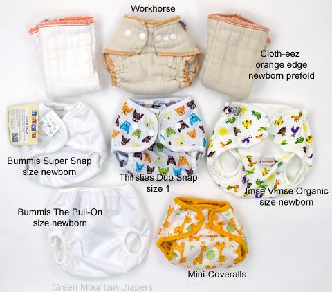 Figuring out what newborn diapers fit with which newborn diaper covers can be tricky. This page shows which covers fit over GMD's Cloth-eez prefolds and Workhorse fitted.