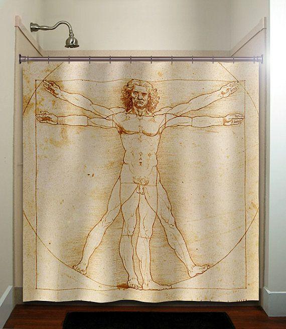 vitruvian man shower curtain bathroom decor by TablishedWorks, $55.00