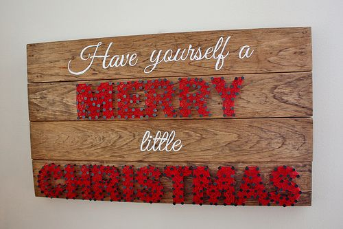 Wooden Christmas Sign with String Art